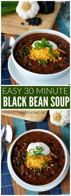 This healthy and easy black bean soup is gluten free, and full of flavor. It's the perfect, quick 30 minute recipe you can cook up at the last minute. This kid-friendly meal is one you'll cook over and over and can easily adapt to become a black beans and rice recipe. It's the vegetarian soup you've been looking for. Easy to make, and low carb, too.