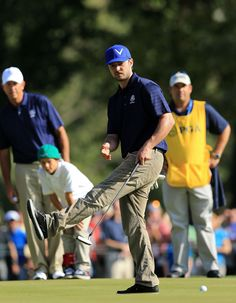 Justin Timberlake looked casual and contemporary as he played in the Ryder Cup pro-am on Tuesday.