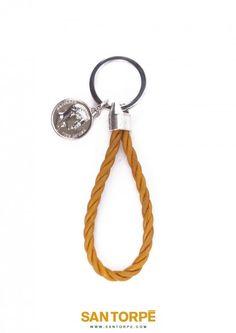 TOPAZ GOLD LEATHER KEY RING