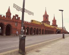 A classic architecture of Berlin and the yellow train on Oberbaumbrucke.