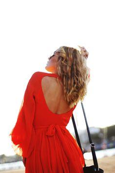 Open back red dress!