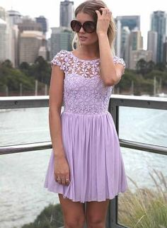 Purple Embroidered Lace Top Dress with Tulle Pleated Skirt,  Dress, floral dress  pleated dress, Casual