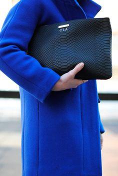 Poor Little It Girl in NYC - J.Crew Cobalt Blue Coat, Oasis Skinny Jeans and Gap Basic Black Tee
