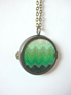 Green Ombre Handmade Cross Stitch Necklace In A by blendblend, $34.99