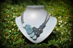 Colours of Jasika #handmade #necklace #soutache #grey #cyan