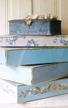 Beautiful vintage blue boxes