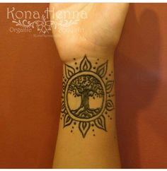 Sun and tree wrist henna / tattoo design