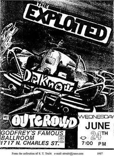 The Exploited, Dr Know, Outcrowd punk hardcore flyer
