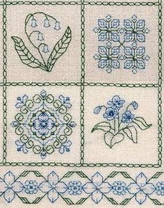 Blackwork Patterns • stitched in blue and green with small pearls added