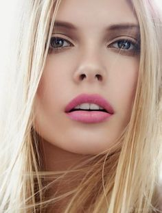 Beautiful blonde with pink lips
