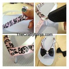 DIY ribbon flip flops by etta