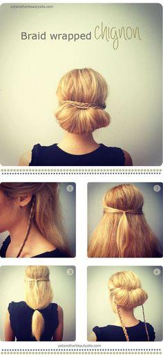 """Snygg uppsättning snabbt och lätt, har du kortare hår går det att fuska med en avlång """"donut"""". Bilderna kommer härifrån."""