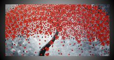Red Cherry Tree Painting Modern wall art by acrylkreativ on Etsy, $339.00