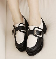 Western Style Thick Heels Shoes Platform Black PF0042