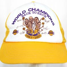 Vintage Lakers Snapback Hat Champions Caricatures