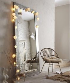 Large Mirror with fairy lights