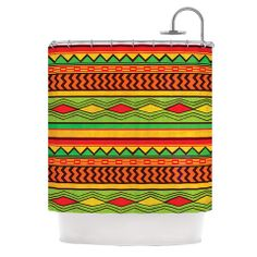 "Louise Machado ""Egyptian"" Red Orange Shower Curtain | KESS InHouse #kessinhouse #louisemachado #ethnic #egyptian #illustration #pattern #print #shower #decor #decoration #home"