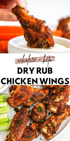 Easy Whole30 + Keto Dry Rub Chicken Wings - The Bettered Blondie Paleo Chicken Wings, Chicken Wing Seasoning, Dry Rub Chicken Wings, Chicken Wing Sauces, Chicken Wing Recipes, Dry Rub For Wings, Oven Baked Chicken Wings, Wings In The Oven, Grilled Chicken Wings