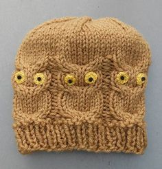 See cap without eyes at bottom of pattern. Pattern has now been tested by Virginia in WA, thanks Virginia. WHO LOVES YA BABY CAP . Baby Knitting Patterns, Owl Patterns, Baby Hats Knitting, Knitting For Kids, Loom Knitting, Knitting Projects, Knitted Owl, Knitted Hats Kids, Crochet Hats