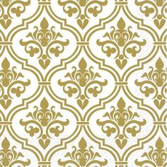 Damask: Gold Damask Luncheon Two-Ply Paper Napkins, 16 Count - Tittles & Bits