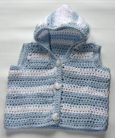 Newborn baby crochet vest hoodie Size 0 to 3 months in natural cotton by crochetyknitsnbits, £24.99