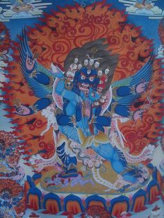 Tibetan Art in Jokhang Temple, Lhasa. Heruka with Consort Thangka.