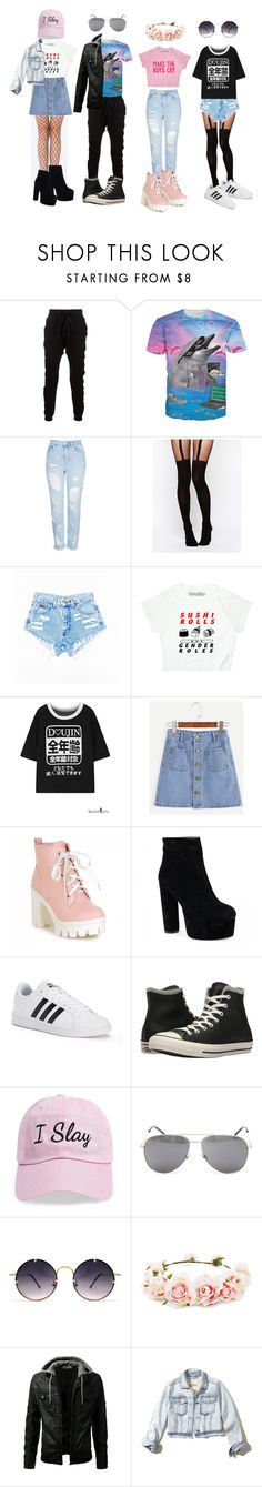 """""""The gang"""" by neon-life ❤ liked on Polyvore featuring Blood Brother, Topshop, ASOS, adidas, Converse, Steve Madden, Yves Saint Laurent, Spitfire, Forever 21 and Hollister Co."""
