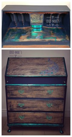 This beautiful drop-front secretary by Edie-Mae's features Artisan Enhancements Peacock Teal Metallic Foil and the Peacock Stencil!