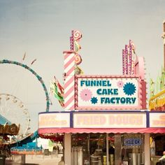 Carnival Funnel Cake Factory art print by Laura Ruth Aesthetic Vintage, Pink Aesthetic, Cake Factory, Carnival Rides, Vintage Carnival, Aesthetic Pictures, Picture Wall, Bunt, Summertime