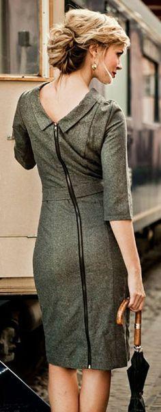 beautiful black and grey tweed dress  http://rstyle.me/n/qx2rapdpe