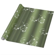 Metallic Green White Swirls Christmas Wrapping Paper - metal style gift ideas unique diy personalize