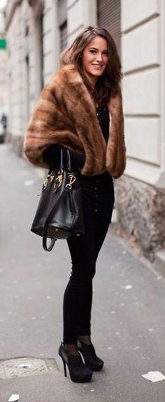 #winter #fashion / faux fur coat