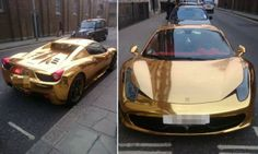 This Ferrari, covered in gold vinyl, belongs to kickboxing world champion Riyadh Al-Azzawi and was spotted in Kensington, London, while the fighter was training in a nearby gym Ferrari Convertible, Western Costumes, Cool Inventions, West London, Expensive Cars, Ferrari 458, Amazing Cars, Awesome, Cool Trucks