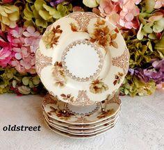 6 Beautiful Vintage Hermann Ohme Old Ivory Porcelain Plates Floral Flowers Gold #HermannOhmeOldIvory