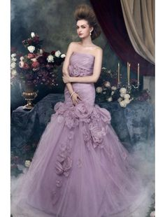 Brilliant Trumpet/Mermaid Strapless Chapel Train Satin and Tulle with Flowers Color Wedding Dress