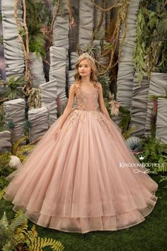 Blush Pink and Gold Flower Girl Dress - Birthday Wedding party Bridesmaid Holiday Blush Pink and Gol Little Girl Gowns, Gowns For Girls, Dresses Kids Girl, Cute Dresses, Pagent Dresses For Kids, Formal Dresses, Gold Flower Girl Dresses, Birthday Dresses, Stunning Dresses