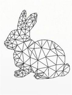 * * * The suggestion box of the workshop * * *: Lapinou in graphics Geometric Drawing, Geometric Shapes, Geometric Animal, Bunny Crafts, Easter Crafts, String Art Diy, Bunny Tattoos, Polygon Art, Origami Art