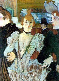 "Henri Toulouse-Lautrec. La Goulue entra con dos mujeres al ""Moulin Rouge"" 1892. (Post-Impresionismo)"