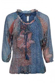 Vergroot - Blauwe bloes met bloemenprint