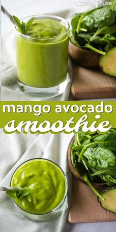 Make this easy and delicious mango avocado smoothie! This creamy green smoothie is made from mango, avocado and spinach for a mango green smoothie that is packed with healthy fats and vitamins. Avocado Smoothie, Green Detox Smoothie, Healthy Green Smoothies, Green Smoothie Recipes, Fruit Smoothies, Healthy Fats, Healthy Drinks, Healthy Recipes, Juice Recipes