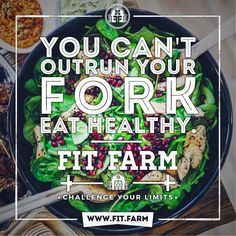 YOU CAN'T OUTRUN YOUR FORK. Visit us today at http://fit.farm and challenge your limits. #fitfarm #bootcamp #fit #fitness #fitspo #exercise #workout #loseweight #weightloss #fitnessmotivation #motivation #quotes