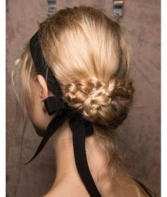 Hairstyle with black ribbon