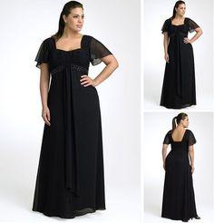 Short Sleeve Empire Waist Black Chiffon Long Plus Size Formal Dress US $107.00