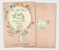 This 5x7 Bunny Bunting invitation is great for your little ones 2nd Birthday! Design can be changed for other occasions. THE PROCESS: You can: 1. Use your own printer to print as many invites as you need. 2. Send by email to your invitees 3. Professionally print them using a