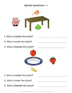 Spatial Concepts: Questions about Object Locations 1 I made this worksheet to work on answering questions about which item is under, over, o...