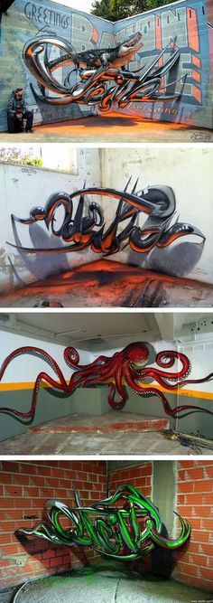 "Portuguese Street Artist ""Odeith"" Creates Stunning 3D Graffiti That Seems To Float In The Air... Good job my friend"