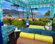 St. Regis Princeville For the cabanas at the St. Regis Princeville Resort on the island of Kauai, Hawaii, fashion designer Trina Turk created a posh retreat that calls to mind the stylish, cheerful colors and patterns of her resort wear.