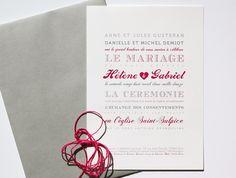 Faire-part de mariage, faire-part de Véronique Deshayes, faire-part letterpress