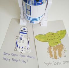 We're here to help you create a Father's Day craft with your baby or kiddo for the dad that loves Star Wars. For little ones 18 months and up, give this Yoda handprint a whirl, or play it safe using a footprint to make R2D2. - See more at: http://thesweetmama.com/blog/2015/06/star-wars-fathers-day-crafts/#sthash.3RK9ZwMW.dpuf