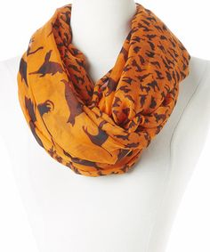 Another great find on #zulily! Orange & Black Cats Infinity Scarf by David & Young #zulilyfinds